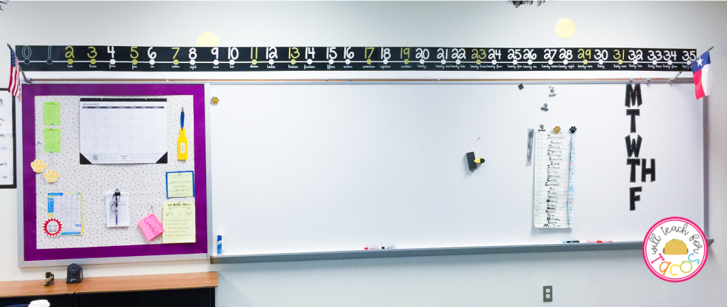 Prime and composite number line on classroom wall above whiteboard